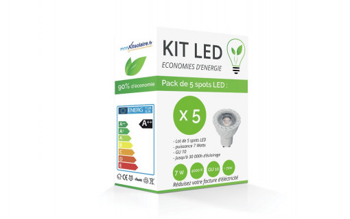 Kit LED Spot GU10 7W  - Blanc froid