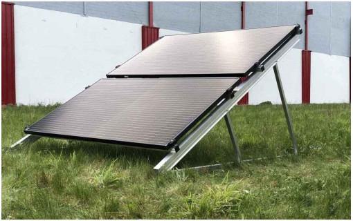 Kit de fixation au sol paysage superposé 6 panneaux solaires