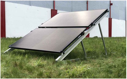 Kit de fixation au sol paysage superposé 2 panneaux solaires