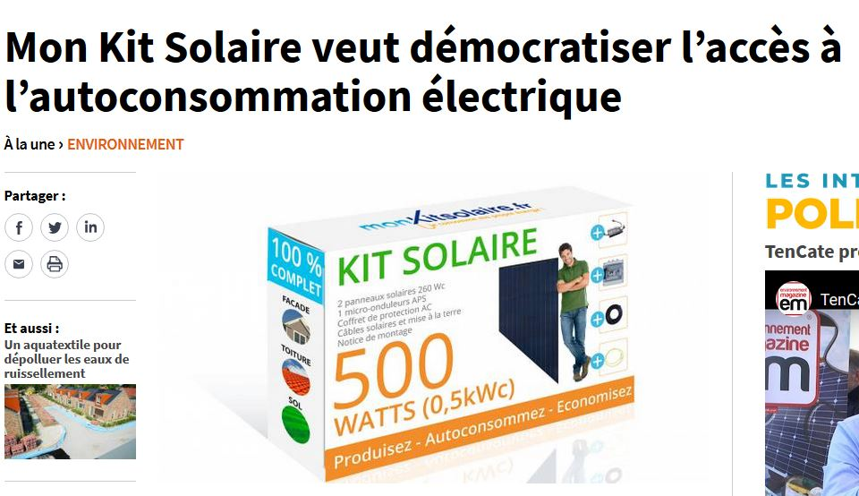 Article MonKitSolaire sur le site Construction Cayola